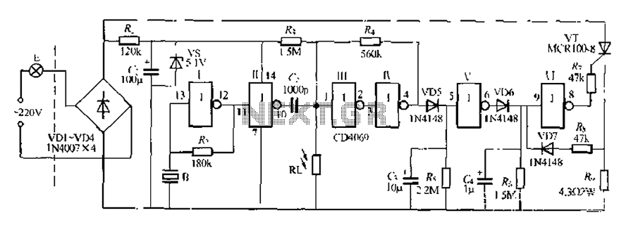 Digital sound and light control stairs delay circuit switching circuit 6 - schematic