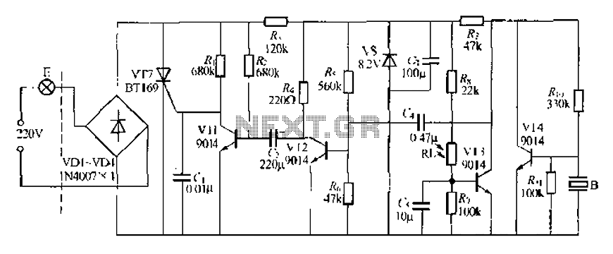 Discrete components sound and light control stairs delay switch circuit 8 - schematic