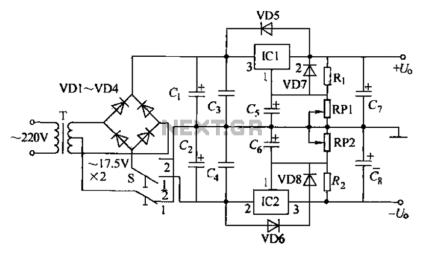 dual adjustable power supply circuit under power supply circuits