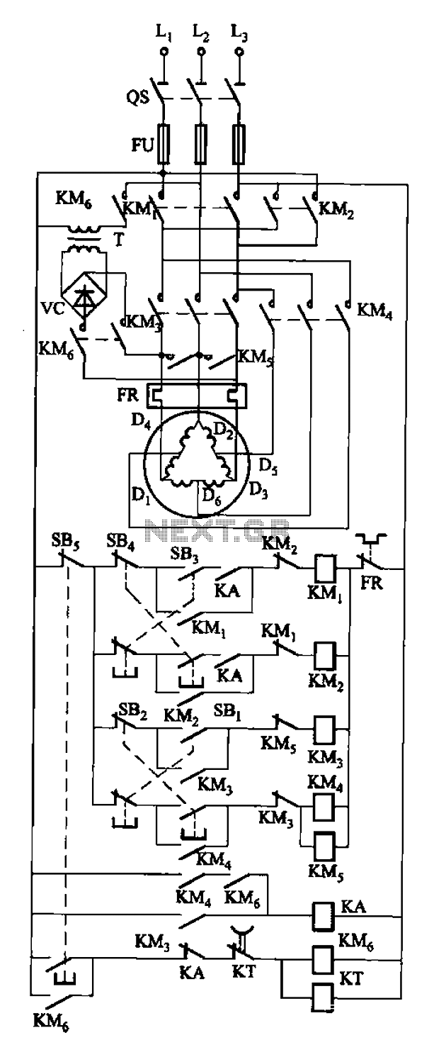 Dynamic braking with the two-speed motor reversing control circuit - schematic