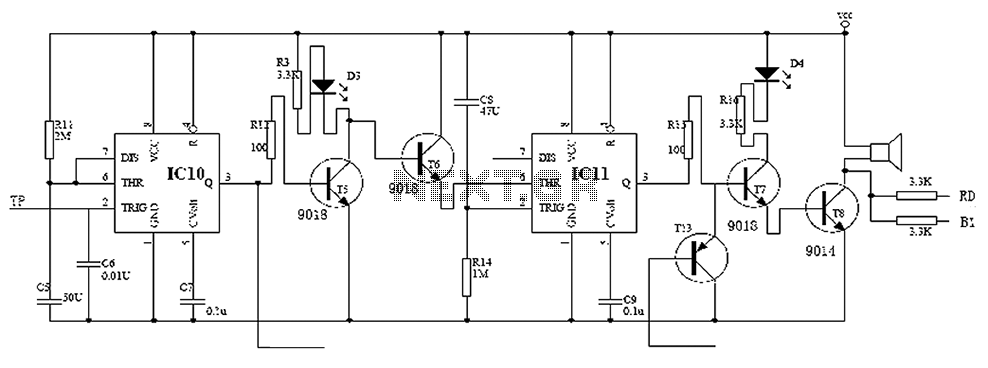 Electronic locks 555 monostable circuit diagram - schematic