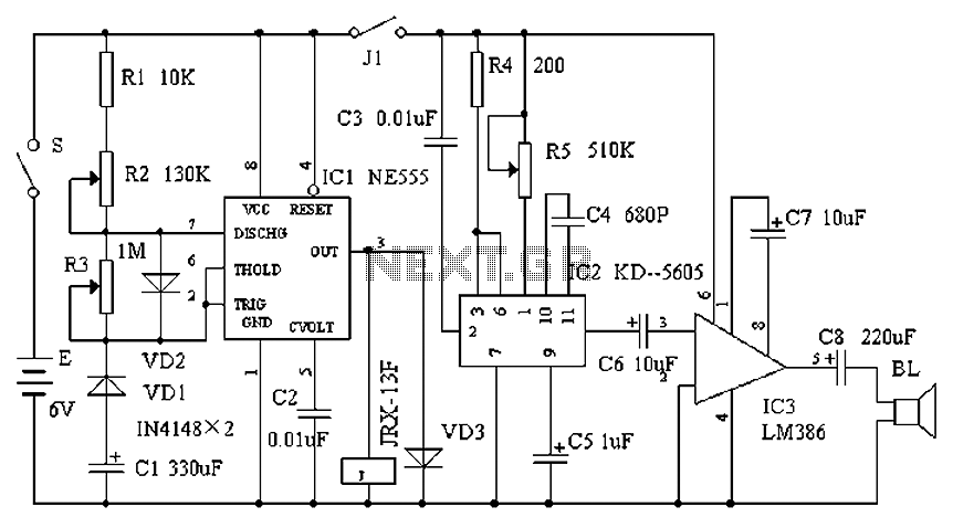 Electronic sound control flooding imitation circuit design - schematic