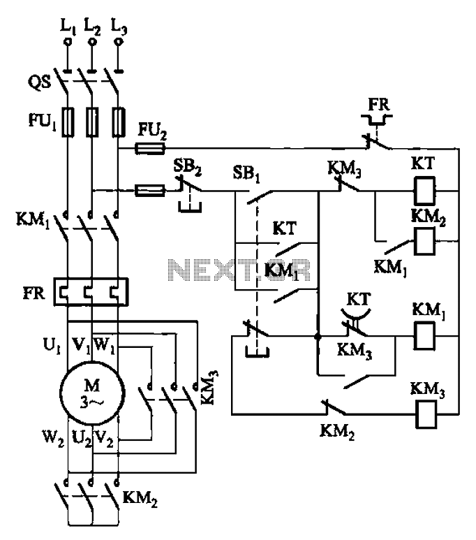 For frequent motor starting Y- starting circuit - schematic