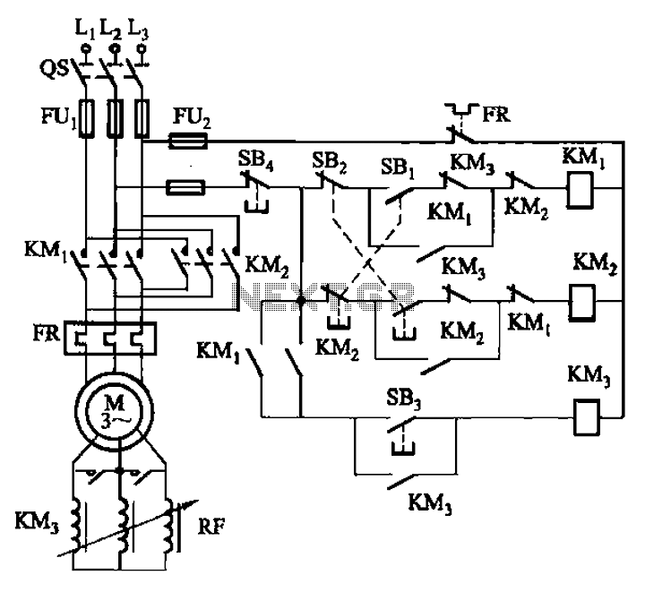 Frequency sensitive rheostat manually start reversing circuit - schematic