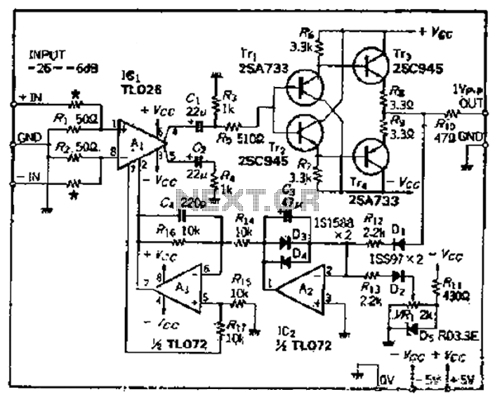 Having a broadband 50MHz-3dB 20dB compression characteristics of broadband amplifier ALC - schematic