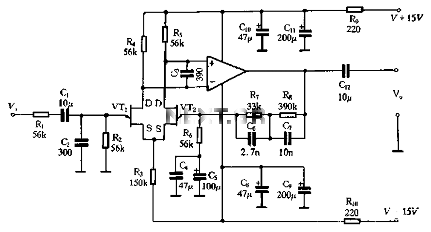 High-quality low-noise preamplifier - schematic