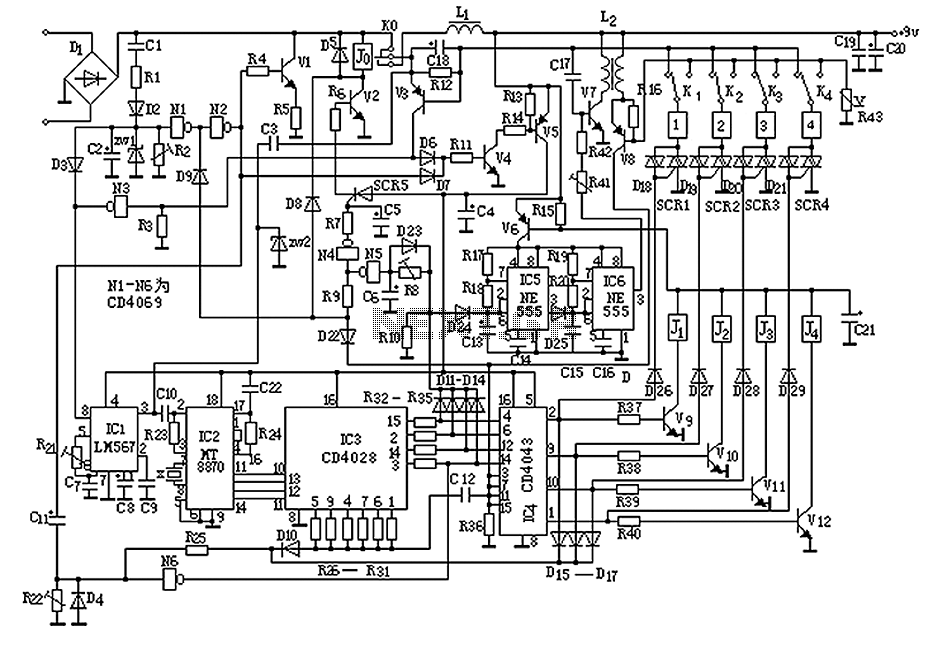 homemade small telephone pbx circuit diagram under