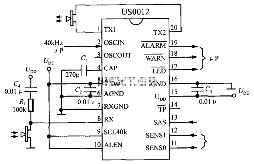 Hotel ultrasonic interference detection system based on ultrasonic probe DSP interference US0012 - schematic