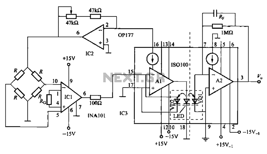ISO100 sensing signal isolation amplifier - schematic