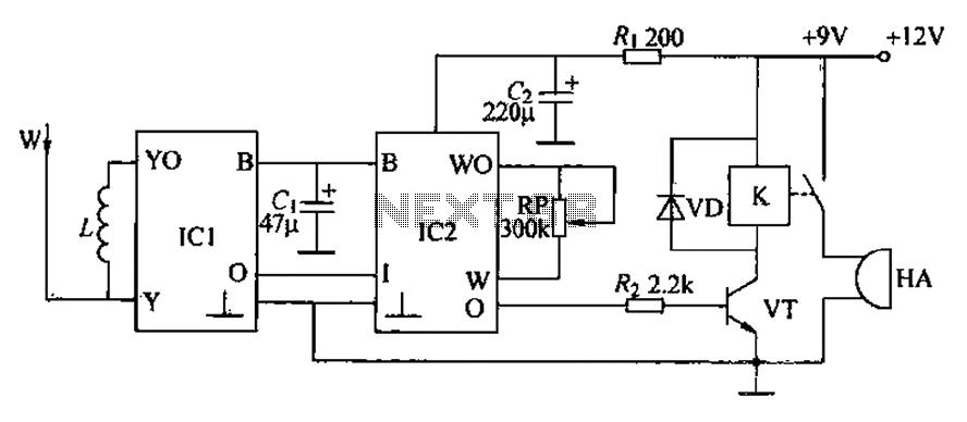 Inductive radio alarm circuit - schematic