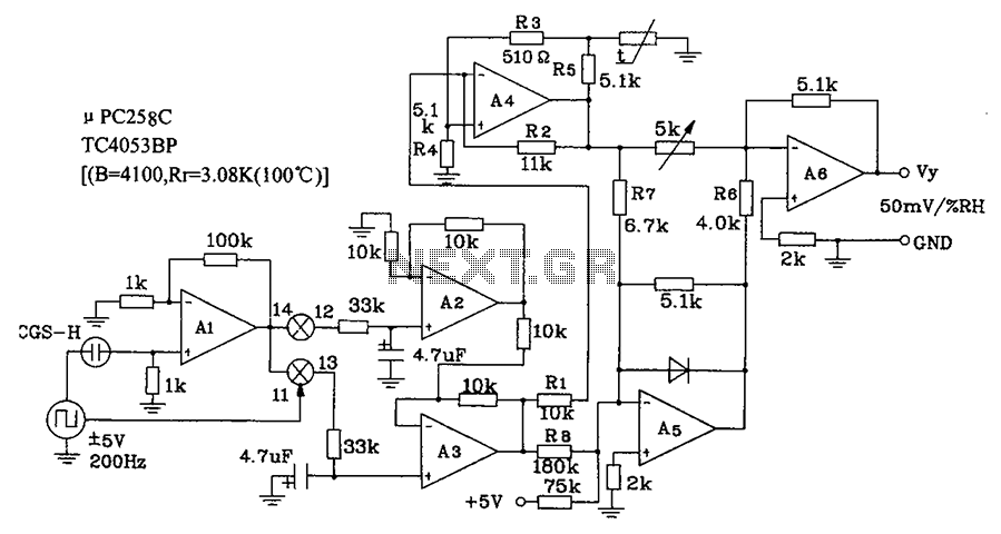 Low humidity is a circuit diagram of CGS-H ceramic humidity sensor configuration - schematic