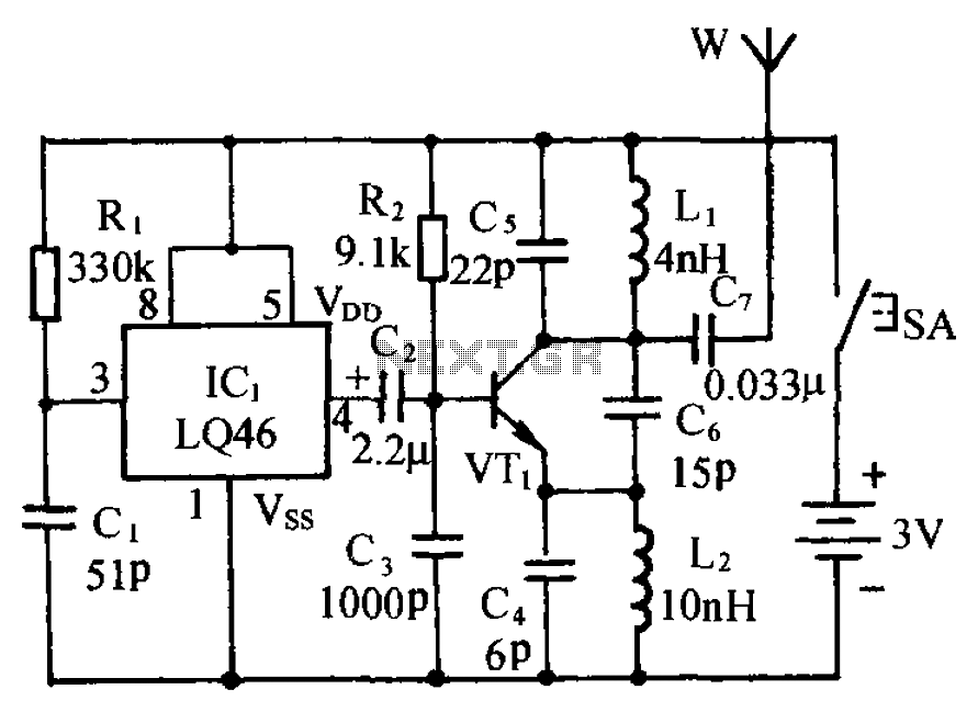 Micro Wireless Monitor FM FM transmitter circuit two - schematic