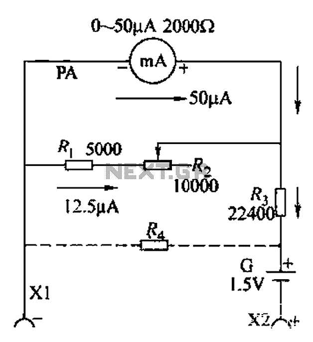 Milliammeter table circuit composed of resistance