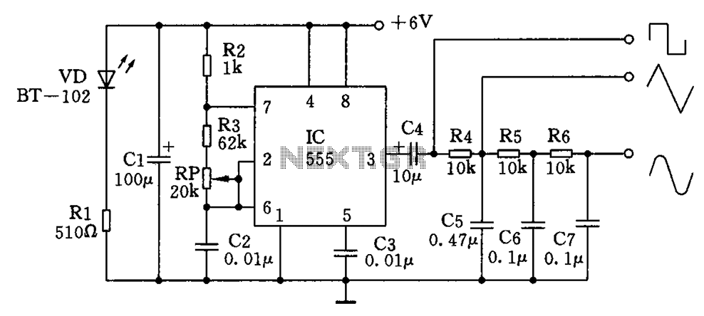 u0026gt  oscillators  u0026gt  multiple waveform generator circuit
