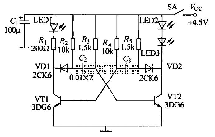 Multivibrator infrared transmitter circuit - schematic