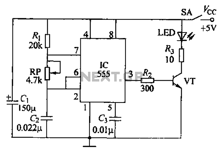Narrow pulse infrared light emitting circuit - schematic
