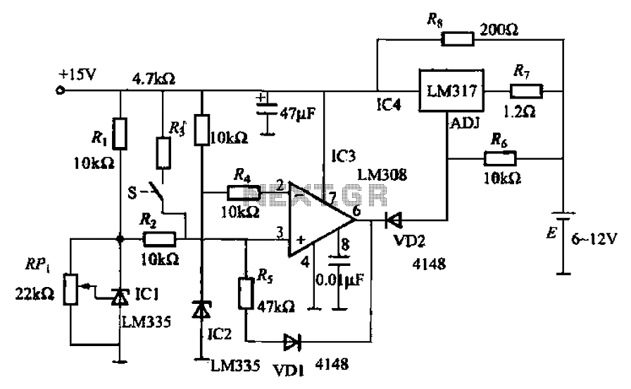 Nickel-cadmium battery fast charger temperature control circuit - schematic