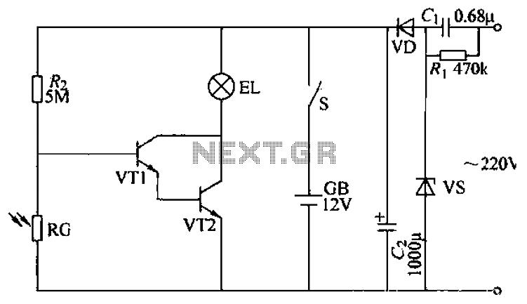 Nightlight lighting circuits - schematic