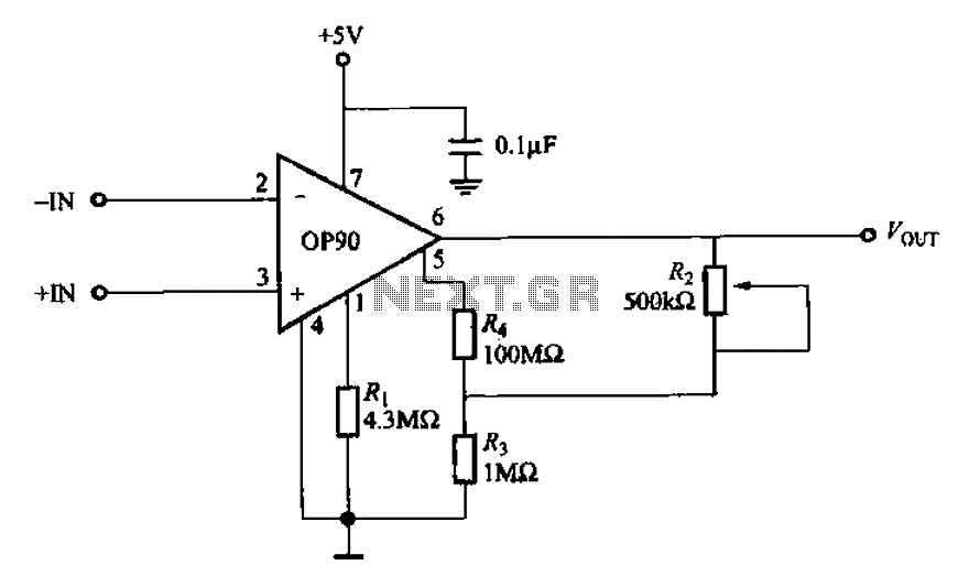 OP90 Micropower Instrumentation Amplifier - schematic