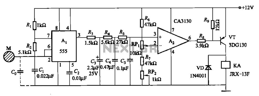 One of capacitive sensing oscillator circuit burglar alarm - schematic