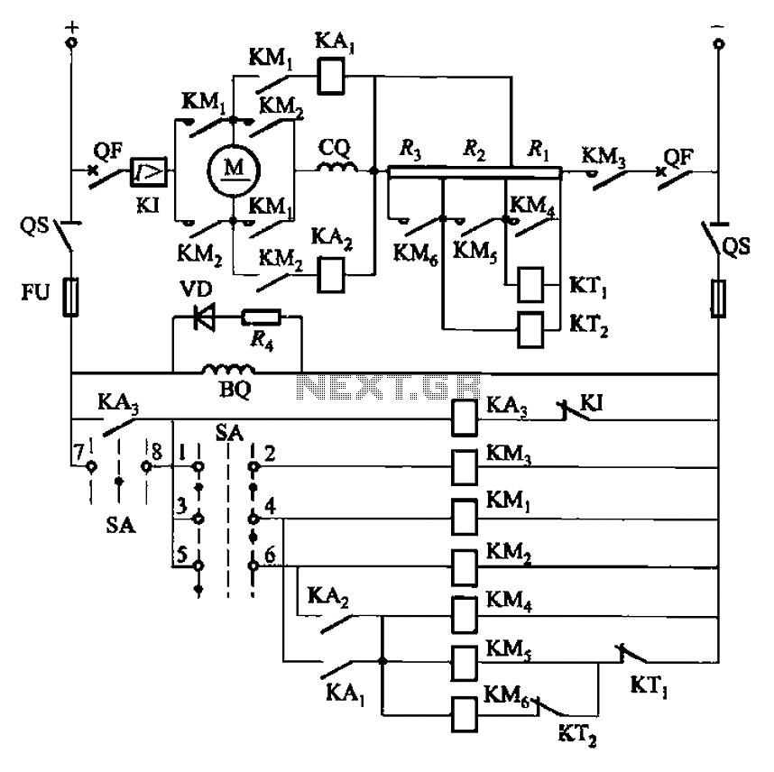 One of reversing circuit reverse braking resistor in series with a DC motor armature start - schematic