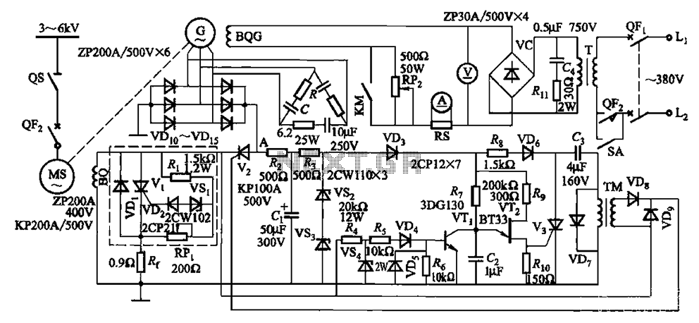 One synchronous motor thyristor excitation circuit - schematic