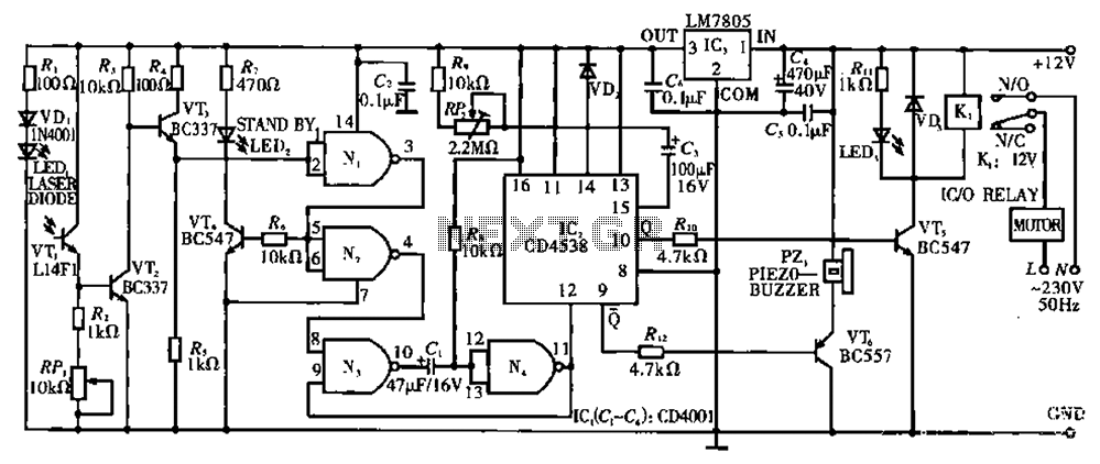 Open doors and windows automatic laser beam control circuit - schematic