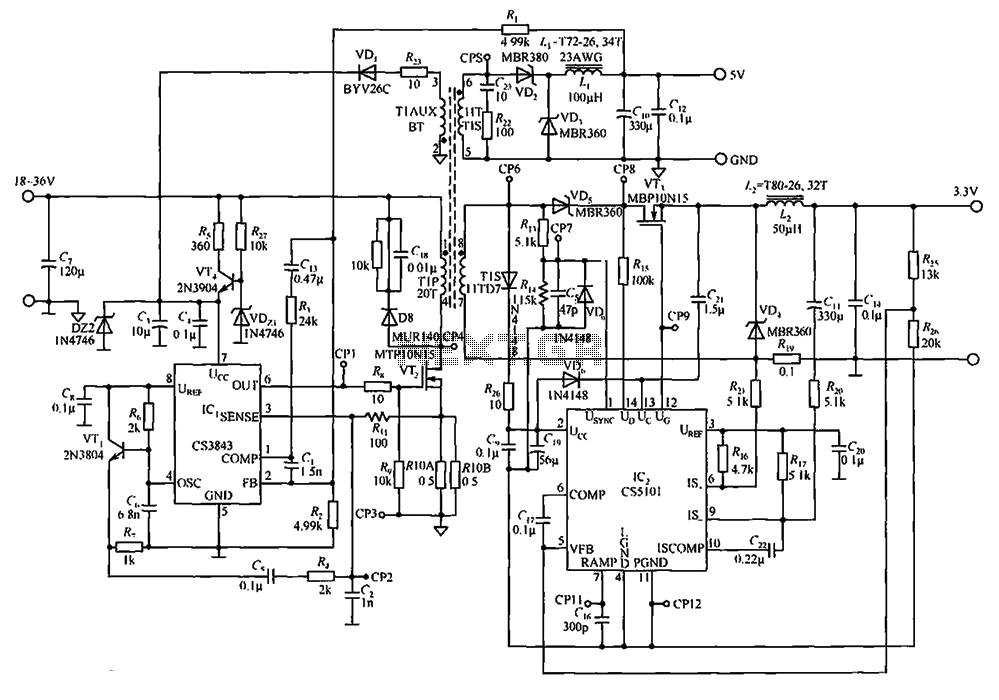 output by the cs3843 and cs5101 composed of 5v 3 3v switching dc power supply circuit under