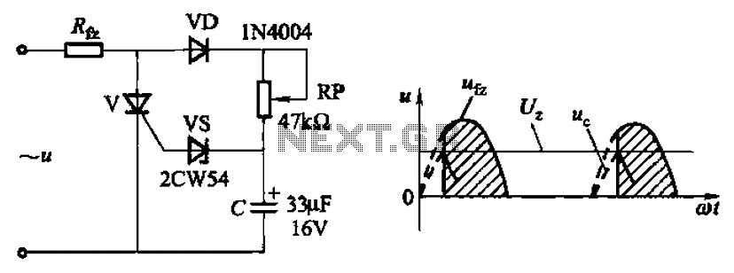 Plus resistive and capacitive silicon tube regulator phase trigger circuit - schematic