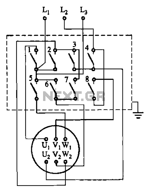 QX1 QX2 series magnetic starter Y- reduced-voltage starting circuit - schematic