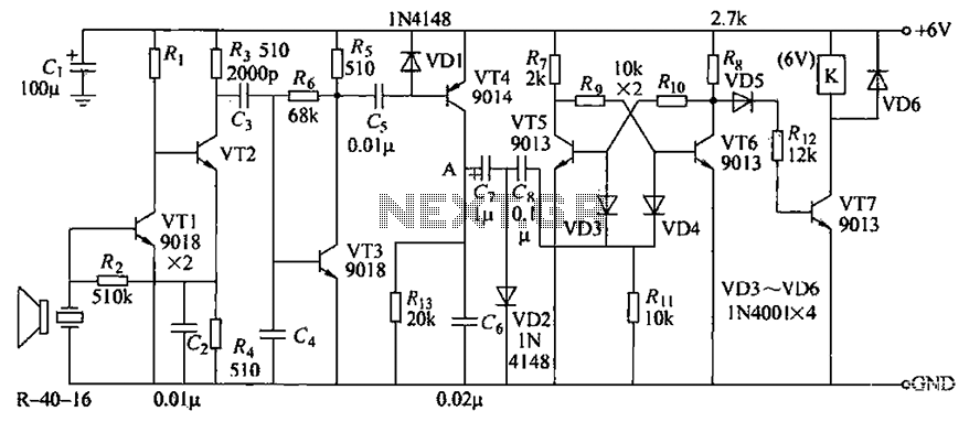 R-40-16 ultrasonic receiver circuit - schematic