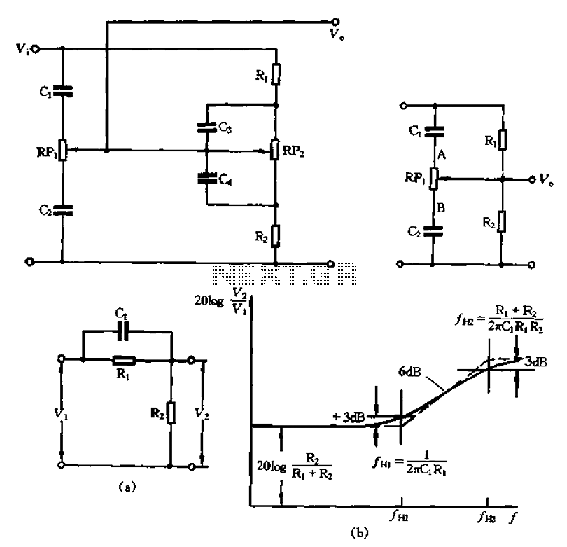 RC relaxation type tone control circuit - schematic