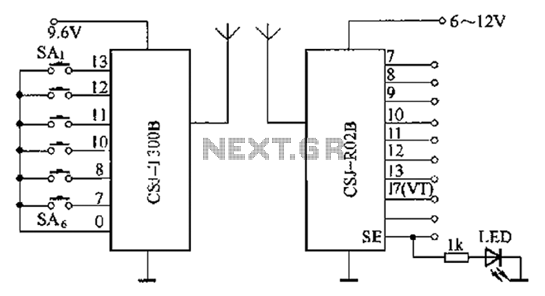 Remote schematic CSJ-T300B with CSJ-R02B composition