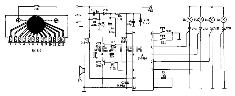 SH-816 ASIC holiday lights - schematic