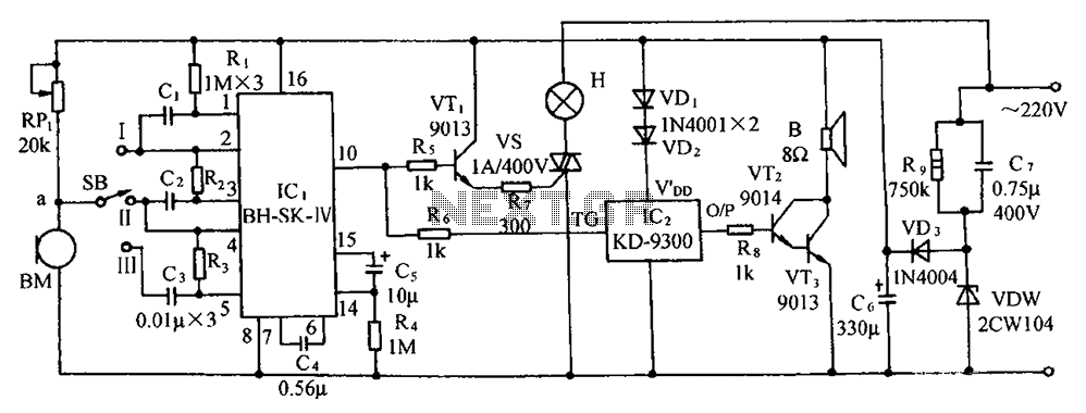 SK-IV with automatic voice-activated lights with music sounding circuit diagram - schematic