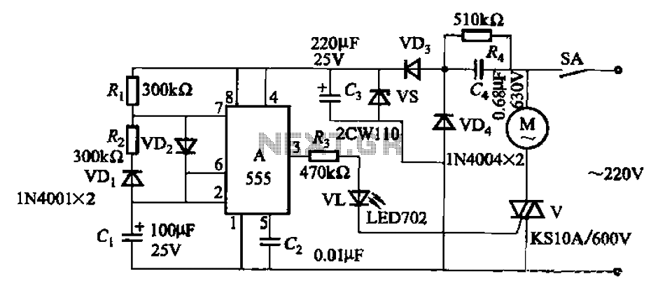 Single-phase motor automatic intermittent operation control circuit - schematic