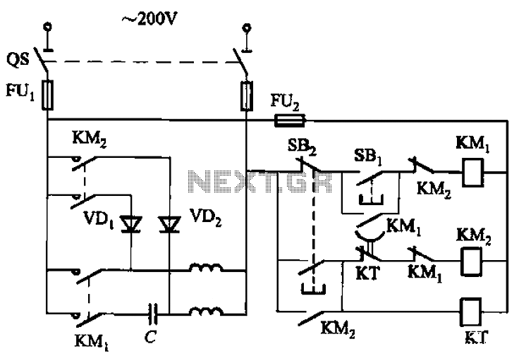 Single-phase motor energy consumption of the two brake circuits - schematic