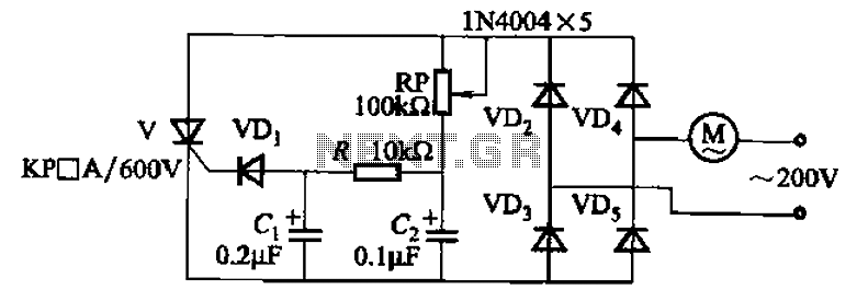 Single-phase motor stepless thyristor circuit 2 - schematic