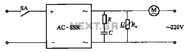 Solid state relay circuit controls the motor-way operation - schematic