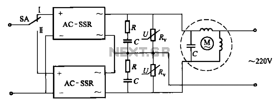 Solid-state relays control the motor forward and reverse operation circuit - schematic
