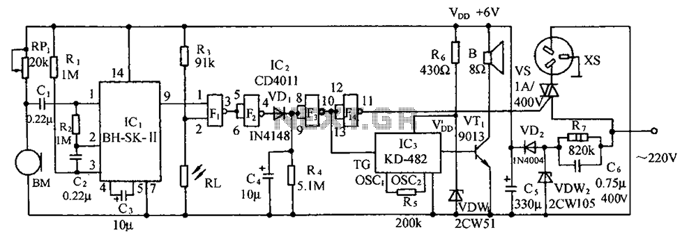 light laser led > sound and light double control switch socket, circuit diagram