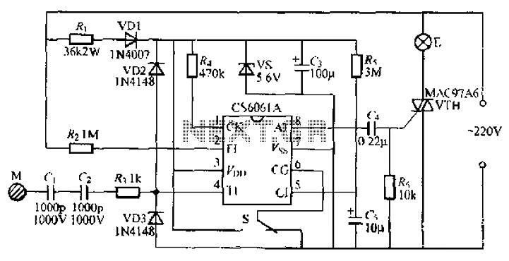 Stepping CS6061A touch dimmer light circuit - schematic