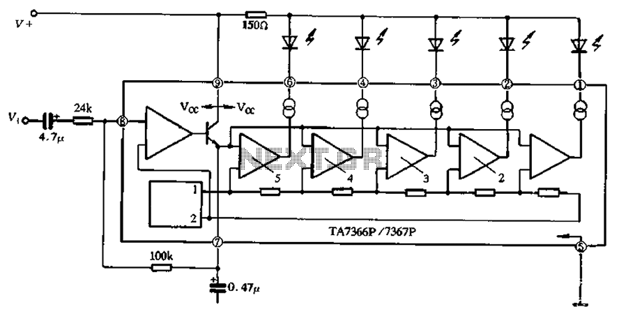 TA7366 67 five lights single drive circuit - schematic