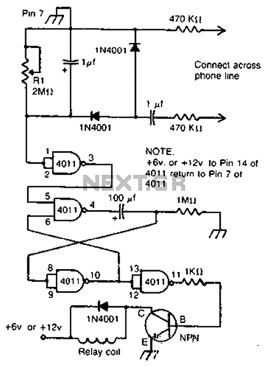Telephone relay circuit - schematic