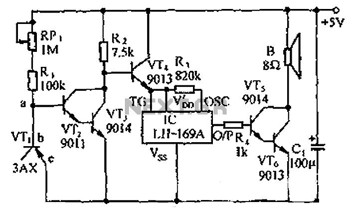 The PC CPU overheating language caution circuit diagram - schematic