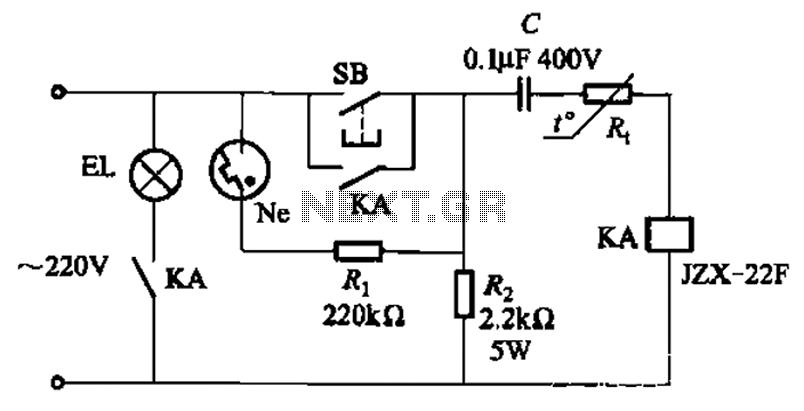 Thermistor lights lighting delay circuit - schematic