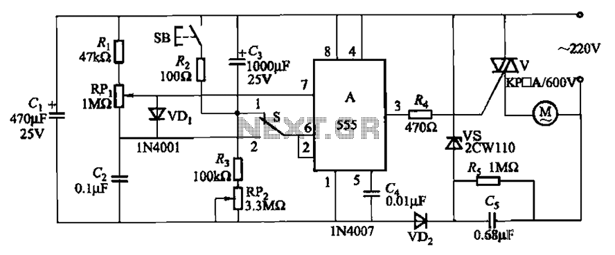 Three single-phase motor stepless thyristor circuits - schematic