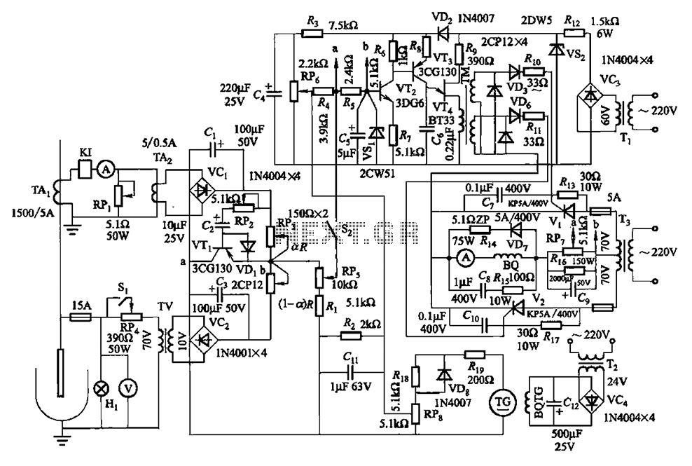Thyristor - slip motor regulator circuit - schematic