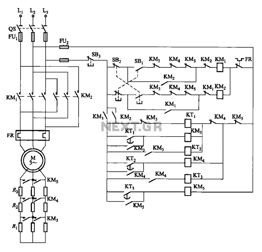 Time to start reversing relay control circuit - schematic