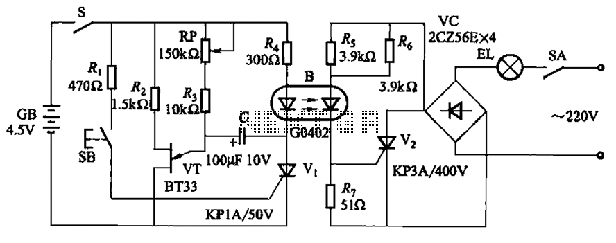 Using optocouplers lighting circuit lights a delay - schematic